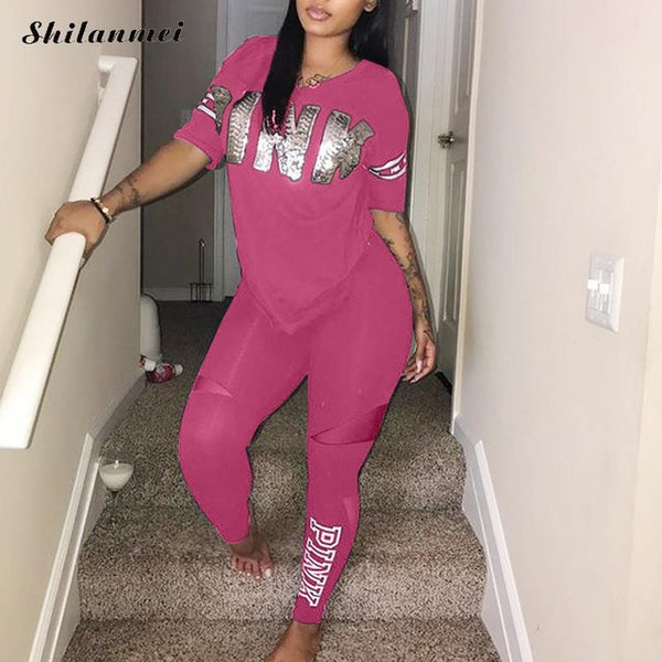 Pink Letter Print  Casual Bodycon 2 Piece Set