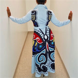 Women Elegant Shirt Long Dress