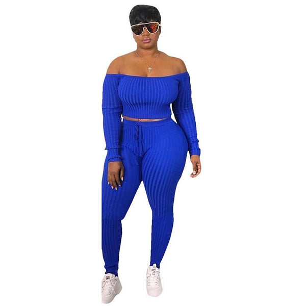 Woman Off Shoulder Crop Top  Plus Size 2 Piece