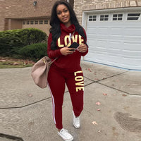 2 Piece Set  LOVE Letter Print Tracksuit