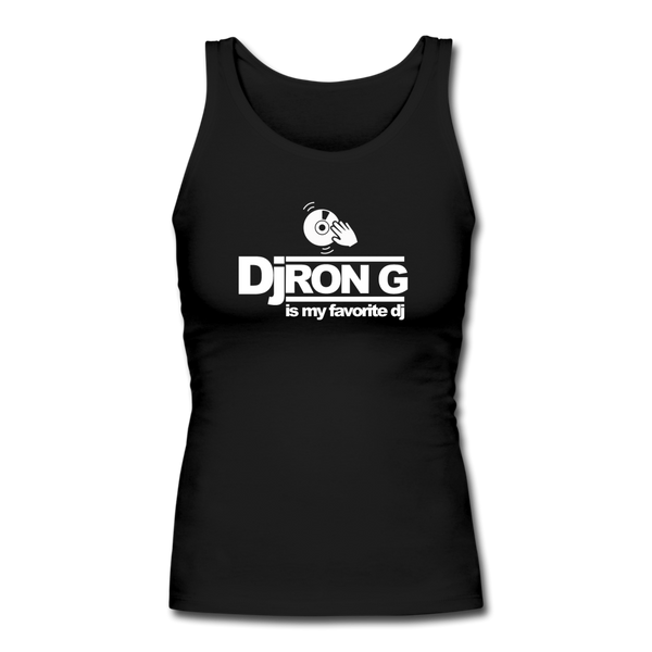Dj Ron G is My Favorite DJ Longer Length Fitted Tank - black