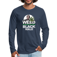 WEED FEMINIZES THE BLACK MALE Premium Long Sleeve T-Shirt - navy