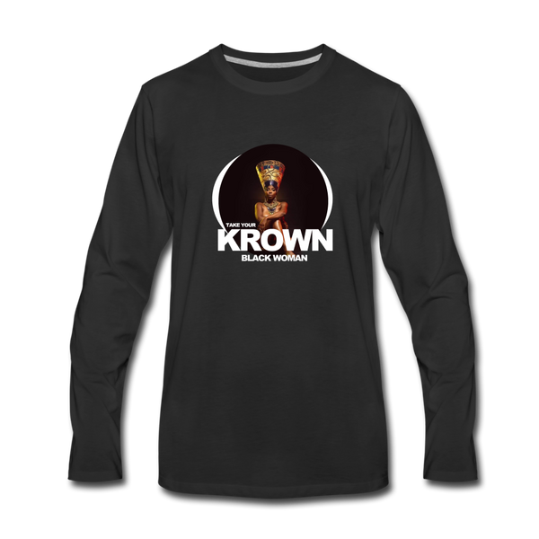 TAKE YOUR KROWN Premium Long Sleeve T-Shirt - black
