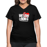 Women's WE LOVE DJ RON G V-Neck T-Shirt - black