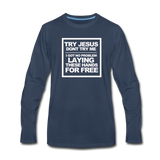 TRY JESUS Premium Long Sleeve T-Shirt - navy