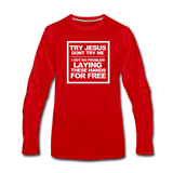 TRY JESUS Premium Long Sleeve T-Shirt - red