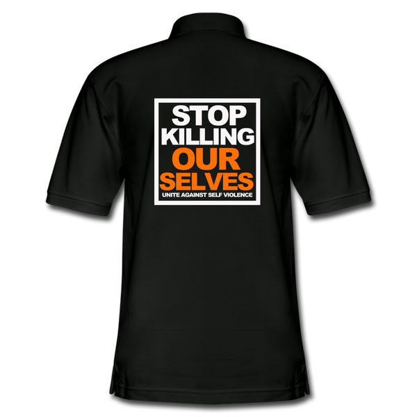 STOP KILLING OURSELVES MENS Pique Polo Shirt - black