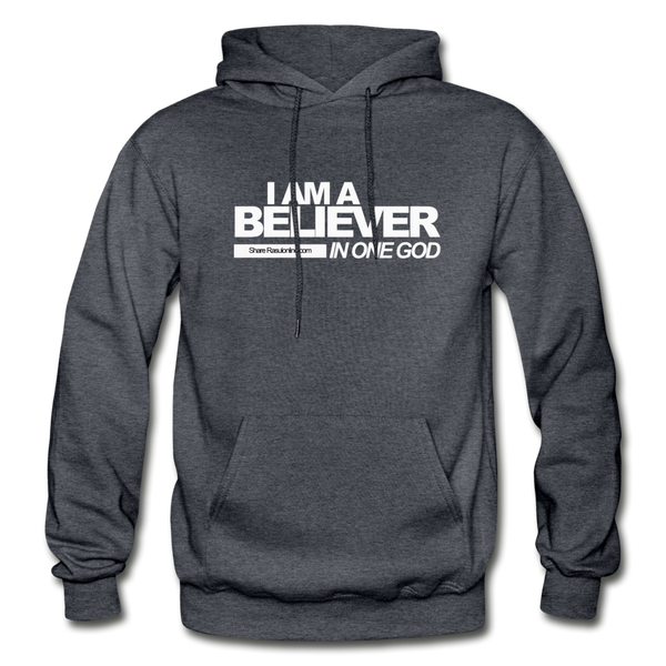 I AM A BELIEVER IN ONE GOD Heavy Blend Adult Hoodie - charcoal gray