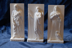 Marble Resin Relief statuettes of the Apostles Peter, James and John designed by White Stone: Italian Sculpture & Fine Arts Studio