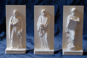 Marble Resin Relief Statuettes of Bartholomew, Simon and Matthew designed by White Stone: Italian Sculpting & Fine Arts Studio