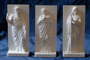 Marble Resin Relief Statuettes of Paul, Philip and James designed by White Stone: Italian Sculpting & Fine Arts Studio