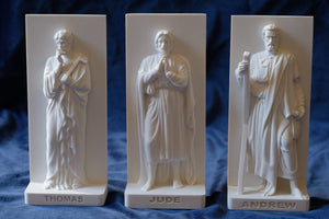 Marble Resin Relief Statuettes of Thomas, Jude and Andrew designed by White Stone: Italian Sculpting & Fine Arts Studio