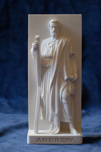 Marble Resin Relief Statuette of the Apostle Andrew designed by White Stone: Italian Sculpting & Fine Arts Studio