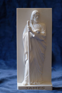 Marble Resin Relief Statuette of the Apostle James designed by White Stone: Italian Sculpting & Fine Arts Studio