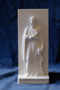 Marble Resin Relief Statuette of the Apostle Bartholomew designed by White Stone: Italian Sculpting & Fine Arts Studio