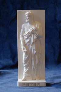 Marble Resin Relief Statuette of the Apostle Peter designed by White Stone: Italian Sculpting & Fine Arts Studio