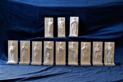 Marble Resin Relief Statuettes of the 12 Apostles designed by White Stone: Italian Sculpting & Fine Arts Studio