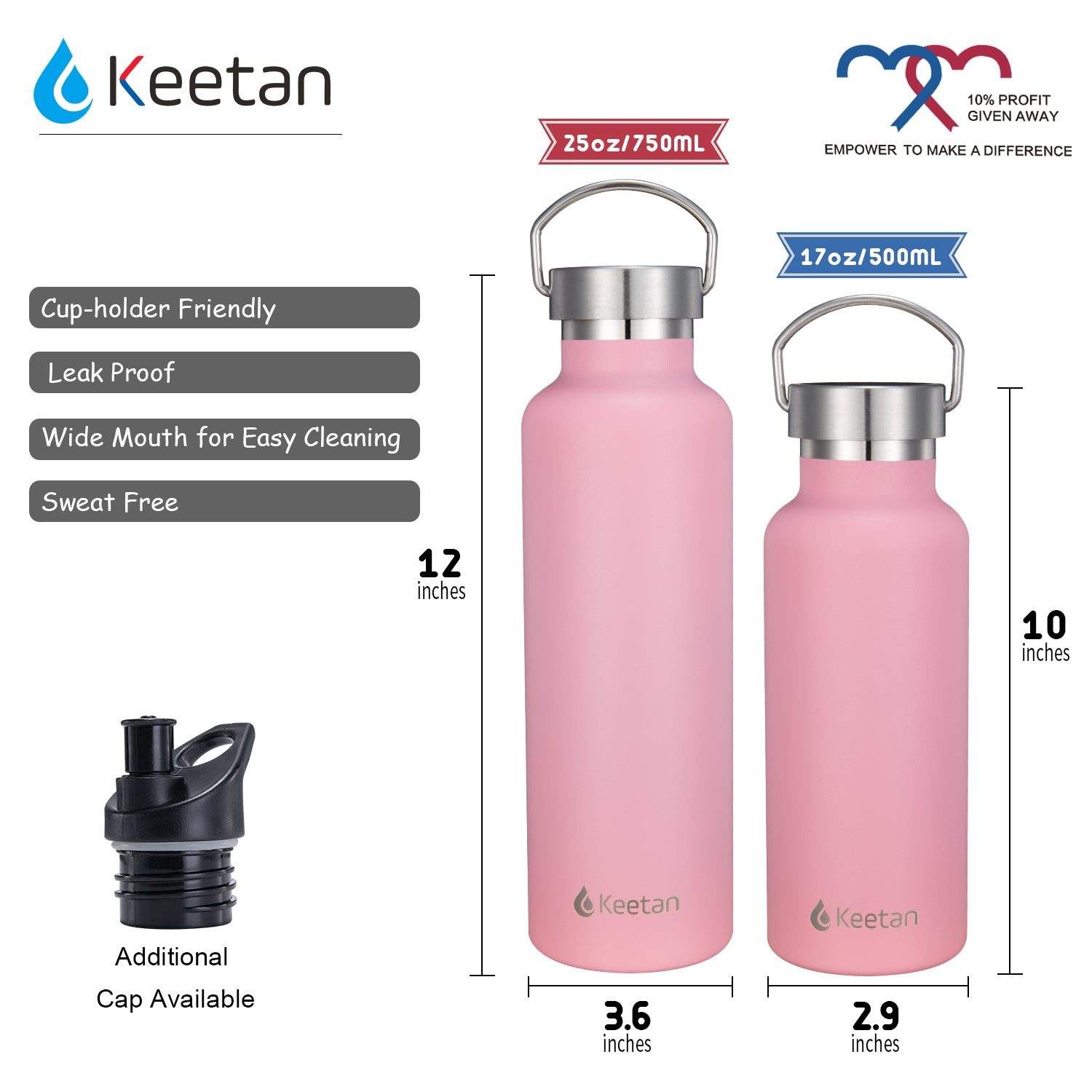 Keetan POLO Water Bottle-Pink