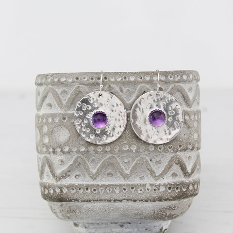 Sterling Silver Shield Earrings Amethyst