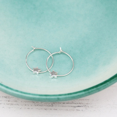 Gorgeous Contemporary Sterling Silver Star Bead Hoops