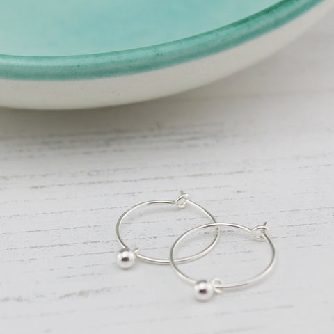Sterling Silver Ball Charm Hoops - Contemporary