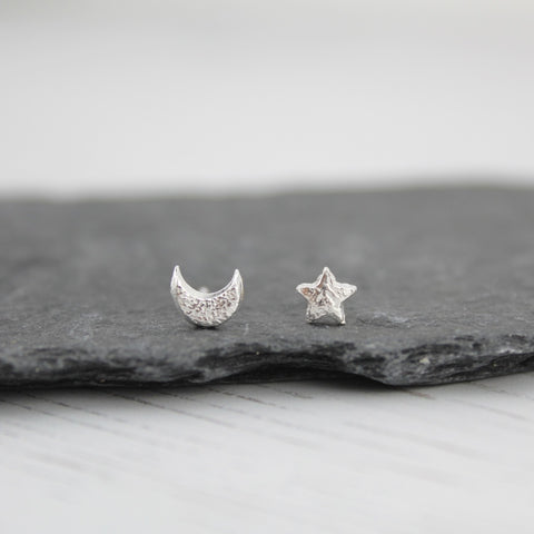 Handmade Sterling Silver Mis-Match Mini Moon and Star Studs - Popular