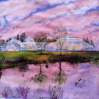 Scottish Themed Coaster  -  The Kibble Palace Botanic Gardens- High Quality Art.