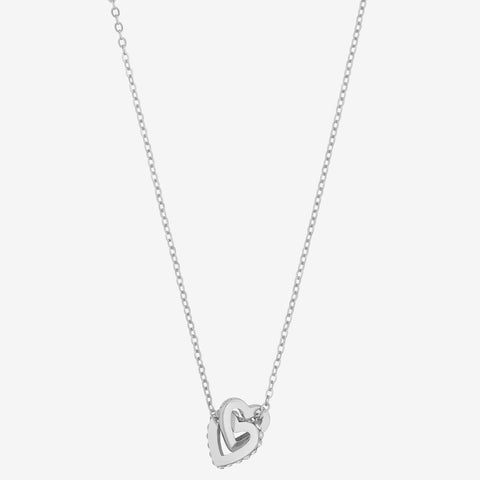 Connected Heart Pendant Necklace Diamante - Costume Jewellery