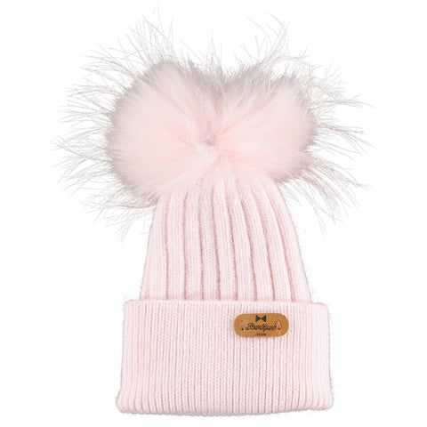 Beautiful Pale Pink Wool Hat With Detachable Pom Pom