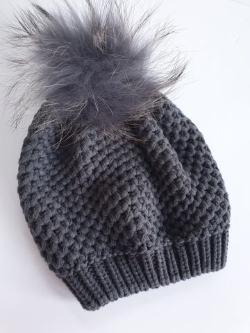 Honeycomb Knit Beret With Detachable Pompom