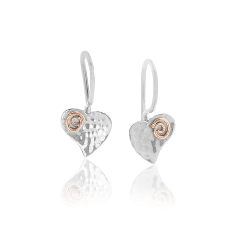 Silver Heart and Gold Fill Spirals Earrings.