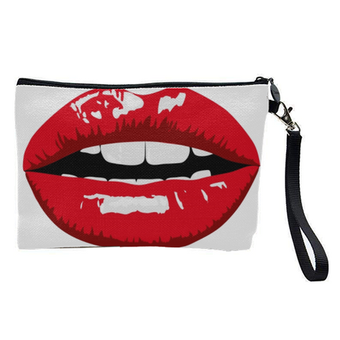 Trendy Red Lips Cosmetics Bag
