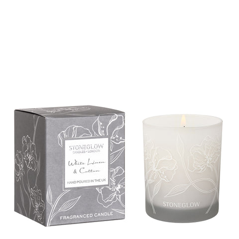 Stoneglow White Linen and Cotton  Luxury Soya Candle.