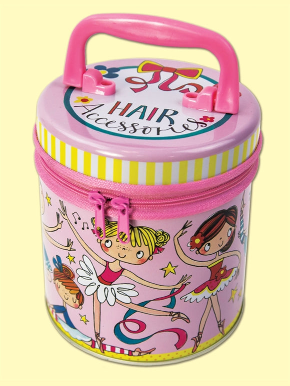 Popular -Ballerina Zipped Storage Tin - Colourful