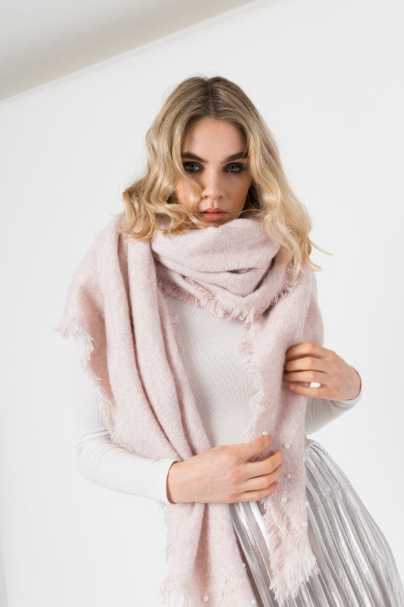 Luxuriously Soft Pale Pink Scarf- Shawl With Pearls