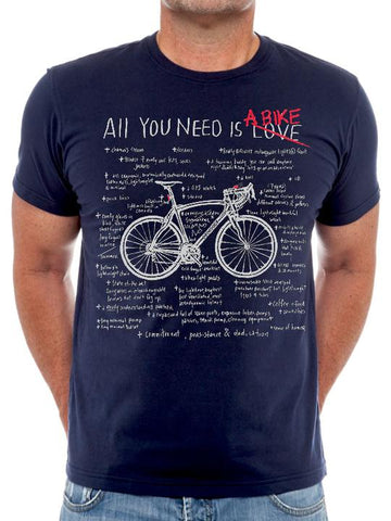 T SHIRT ALL YOU NEED A BIKE (NAVY)Cycology