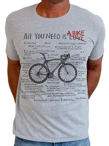 T SHIRT ALL YOU NEED IS A BIKE (GREY) - Cycology