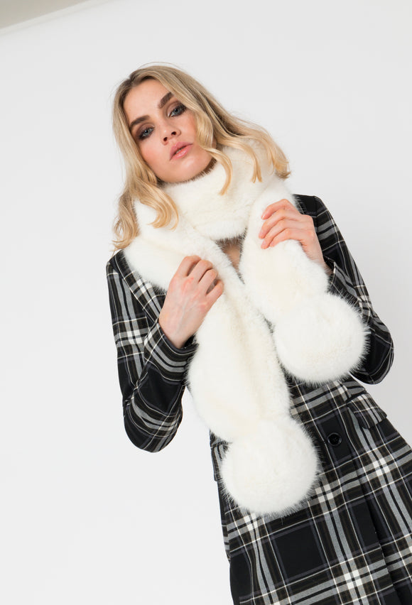 Luxuriously Soft Faux Fur Scarf With PomPoms