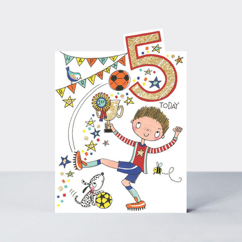 Age 5 Happy Birthday Card - Football Fun