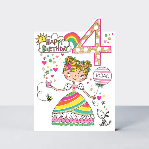Age 4 Happy Birthday Card - Cherry Top