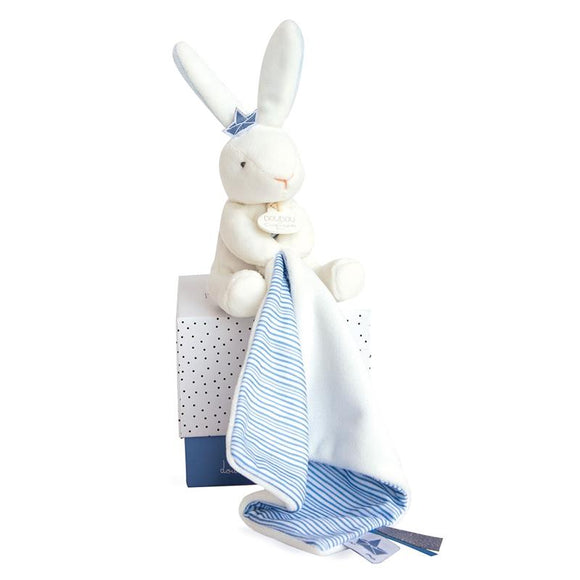 Doudou Sailor Bunny Comforter.  Blue and White.