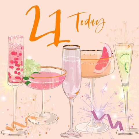 Age 21 Luxury  Birthday Glasses Card - Special Card For A Special Birthday