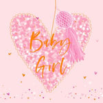 Luxury High Quality Congratulations Card -Baby Girl Heart.