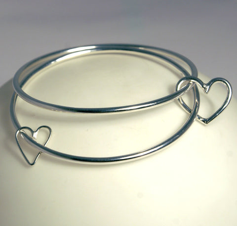 Handmade in Scotland - Double Silver Bangle With Two Hearts - Popular