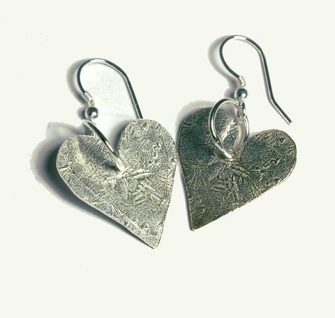 Handmade in Scotland -  Silver Heart  Earrings