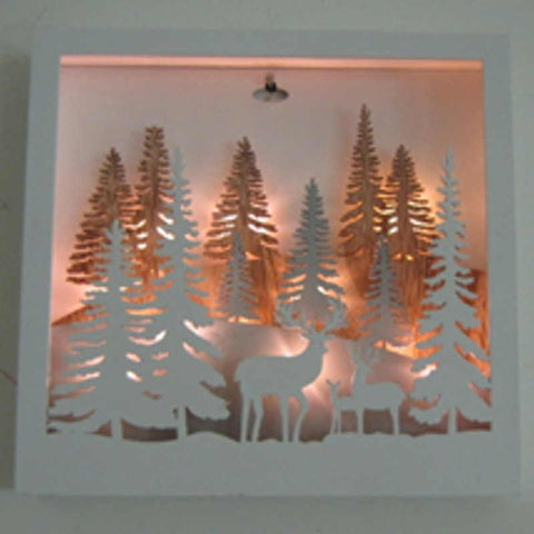 Beautiful 25cm Sq Hanging White Wood Scene - Christmas Scene