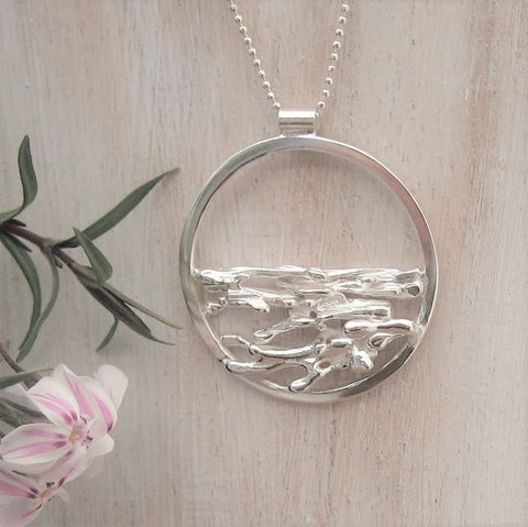 Beautiful Handmade Silver Circle Of Life Necklace  -Earrings To Match Available