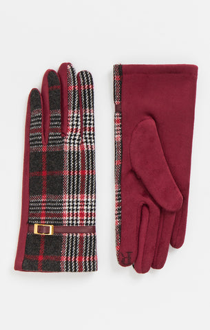 Red ,Black And White Wool Gloves  - Elegant Cosy