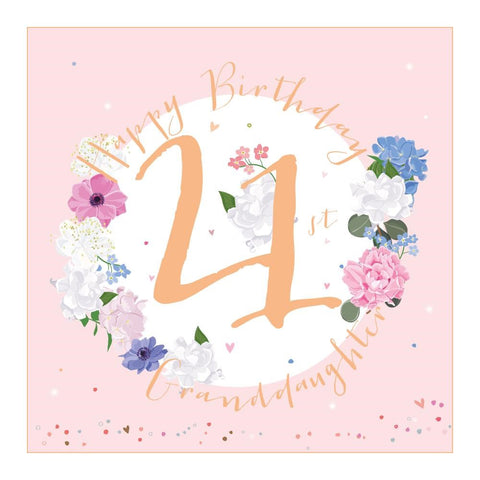 Age 21 Large Luxury Granddaughter  Birthday Glasses Card - Special Card For A Special Birthday