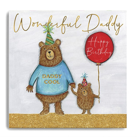 Wonderful Daddy Happy Birthday - Two Bears with Balloon